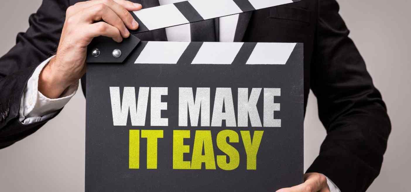 Werbung für Ihre Website - Mann mit Spruch: we make it easy
